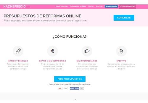 web de hazmeprecio para reformas en el hogar