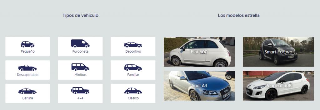 Tipos de coche en Drivy
